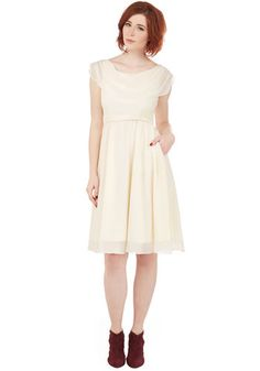 Pas de Bourrée a Day Dress in Ivory   Mod Retro Vintage Dresses   ModCloth.com