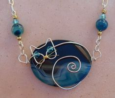 Unique Brown Wire Cat on Pink Agate Pendant Necklace by jillmh123