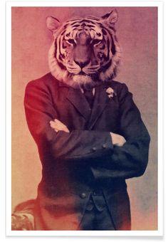 Old Timey Tiger als Premium poster door John Keddie | JUNIQE