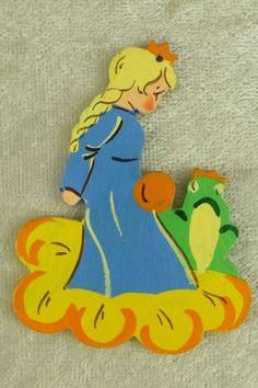 Vintage Flat Wood Fretwork Princess & Frog Fairy Tale Christmas Ornament Germany    eBay