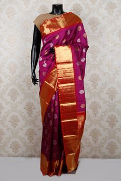 #Purple & #gold pure #kanchipuram silk admirable saree with #red & gold border-SR13072