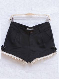 Black Casual Pierced Color Block Bow Mid Waist Cotton Shorts