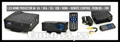 HX-100 Mini LED Home Projector w/ AV / VGA / SD / USB / HDMI + Remote Control - Black (EU Plug) from 89,= for Euro 55,55