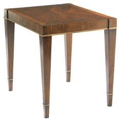 "Wheaton 29"" Side Table, Walnut/Gold"