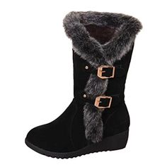VonFon Fashion Faux-Fur Womens Low Heel High Top Snow Boots Winter Boots