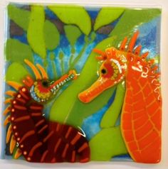 Sea Horses by Deb. A stunning work that involves careful planning for the  varied glass materials & processes, including  multiple firings/fusing. So many working hours! Its beautiful!