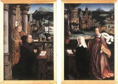 Jan Provoost - Donor with St. Nicholas and his Wife with St. Godelina: Given that St Godeleva is the patron saint of battered wives, you have to ask what message is being sent here...