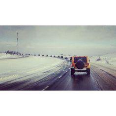 33 Jeeps in a convoy from #enfieldnovascotia to #springhillnovascotia for #crawforcarma2016 #jeeps #jeep #jeepher #datass #mybaby #beautiful #love #jeeplove #jeeptour #jeepwrangler #jeepsahara #novascotia #canada by @hfitzie13