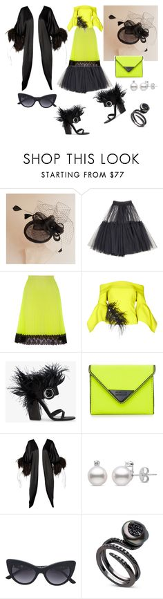 """""""Safety Yellow + Black + Feathers!! 💪 lol"""" by p0llyinurpocket ❤ liked on Polyvore featuring Molly Goddard, Christopher Kane, Safiyaa, Prada, Rebecca Minkoff and Lucie Ann"""