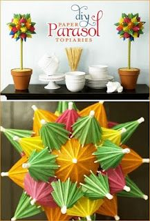 DIY Paper Parasol Topiaries...maybe instead of topiaries...making these into poms and hanging them on the side of the window or the glass door...