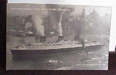 The Normandie and New York Skyline Vintage B & W Postally Unused Postcard