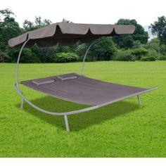 Gezien op Beslist.nl: Zonnebed voor buiten met een luifel en twee bruine kussens