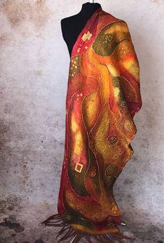 Купить Климт в красных тонах палантин двусторонний из шелка и шерсти мериноса - красный, палантин, рыжий