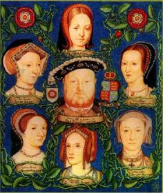 Henry VIII is arguably most famous for having six wives. In order, these are (top of graphic) Katherine of Aragon (the daughter of Ferdinand and Isabella of Spain,) Anne Boleyn (wearing her famous B. Anne Boleyn, Anne De Cleves, Tudor History, European History, British History, Los Tudor, Tudor Era, Wives Of Henry Viii, King Henry Viii