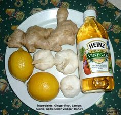 Honey Lemon Ginger Garlic Apple Cider Vinegar -Learn how to lower cholesterol safely and naturally at: http://vitamins.vitanetonline.com/index.php/category/cholesterol/