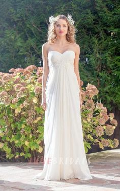 Sweetheart Empire Waist A-line Wedding Dress with Side Draping