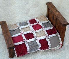 Red Cream Grey Modern Rag Quilt