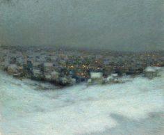 Henri Le Sidaner - Snow under the Moon, 1903 (картина) — Картины с аукционов Sotheby's Nocturne, Port Louis Ile Maurice, Icelandic Artists, Painting Snow, Under The Moon, Z Arts, Oil Painting Reproductions, Vintage Artwork, Winter Landscape