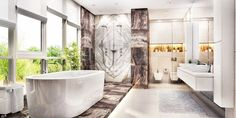 Modern large bathroom with large window stock photo Germany, Luxury, Bathroom, Residential Building, Indoors #Bathroomdecor #bathroomdecorcolors #bathroomdecorideassmall Big Bathrooms, Bathroom Spa, Male To Female Transition, Building Foundation, Remodeling Costs, Adobe, Luxury Interior, Interior Design, Trends