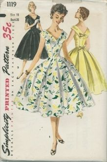 An unused original ca. 1955 Simplicity Pattern 1119.  Junior Misses' and Misses' One-Piece Dress: A wide V neckline styles this figure flattering princess dress. The center front and back panels extend over the shoulders. Soft inverted pleats over the skirt seams billow out below the waistline. Bow trim adds back interest to view 1. View 1 is sleeveless; view 2 has short sleeves. Ribbon tie belt is worn in view 2.