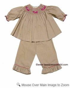 Rosalina Infant / Toddler Girls Tan Check Smocked Pink Scottie Dogs Pants Set