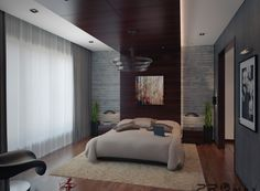 Interior Apartment. Modern Apartment Interior Design Ideas. Modern Apartment Interior Bedroom Design Ideas with Beige Queen Size Bed Set and Low Console Bedside Nightstands with Hanging Low Reading Lamps also Brown Fur Area Rug plus Dark Brown Varnished Wooden Headboard Paneling and Gray Concrete Wall. Modern Apartment Bedroom Designs. Modern Bedroom Design Ideas. Modern Bed Set. Bedroom Wooden Paneling. Modern Bedroom Designs. Apartment Bedroom Wooden Floors. Apartment Bedroom Concrete ...