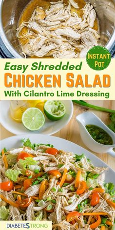Easy Healthy Low Carb Dinners, Healthy Salad Recipes, Lunch Recipes, Shredded Chicken Salads, Easy Family Meals, Family Recipes, Banting Recipes, Healthy Chicken Recipes, Lime Dressing