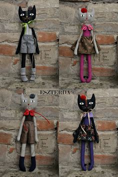 ESZTERDA: and again, a foursome . cats - boys and girls, black-Natural Sock Crafts, Cat Crafts, Sewing Crafts, Sewing Projects, Handmade Stuffed Animals, Fabric Animals, Monster Dolls, Fabric Toys, Cat Doll