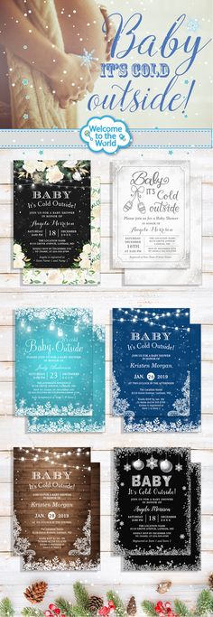 """""""Baby, it's cold outside!"""" baby shower invitations are super adorable and easy to fit the winter party themes. See more ideas about these fabulous invites for your inspiration. Baby Shower Winter, Baby Winter, Baby Boy Shower, Winter Party Themes, Winter Theme, Baby Shower Parties, Baby Shower Themes, Shower Ideas, Baby Shower Invitations For Boys"""