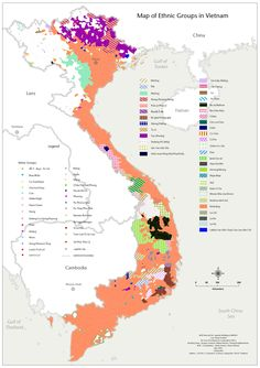 Ethnic Map Vietnam.  Vietnam was reunified in 1975, at the end of the Vietnam War. From 1954 to 1975, Vietnam was divided in two states, North Vietnam and South Vietnam. From 1863/1885 to 1954 Vietnam (divided into three regional entities...etc................................................ via zum.de