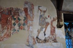 South Newington St Peter Ad Vincula church wall paintings on north wall martyrdom of St Thomas of Lancaster c1330 -32