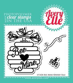 "AVERY ELLE: Bee Mine (2"" X 3"" Clear Photopolymer Stamp) This package contains Bee Mine: Beehive measures : 1 5/8"" x 2 1/4"", Bee measures: 7/16"" x 7/16"". *Coordinates with Bee Mine Elle-ments die set."