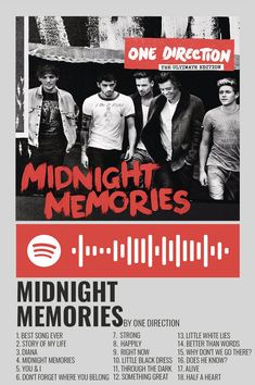 One Direction Albums, One Direction Posters, One Direction Wallpaper, Best Song Ever, Best Songs, One Direction Midnight Memories, Harry Styles Poster, Foto Poster, Memory Album