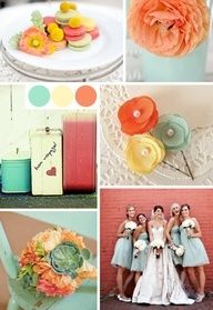 wedding color combination: mint green/aqua/teal, pink, yellow