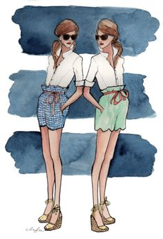 The most adorable fashion painted illustrations, i've ever seen by Inslee Haynes . A really girly and inspirational way how to turn the real. Moda Fashion, Fashion Art, Fashion Design, Fashion Models, Style Fashion, Fashion Trends, Illustration Sketches, Watercolor Illustration, Portrait Illustration