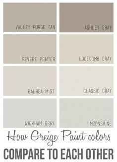 The best Benjamin Moore greige paint colors and how they compare to each  other INTERIOR TRENDS   Interiors  Walls and Gray. Grey Brown Paint. Home Design Ideas