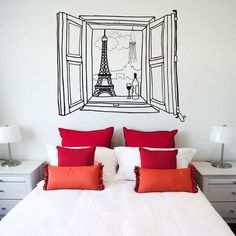Wake up every morning with the feeling of being in the city of Eiffel Tower by empowering your walls with the Paris Window Wall Decal. The beautifully deco Decoracion Low Cost, Wall Design, House Design, Paris Rooms, Paris Bedroom, Window Wall, Home Living, New Room, Room Inspiration
