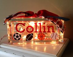 Vinyl Personalized Glass Block Light with by TheStylishLetter, $26.00