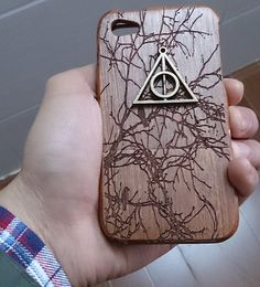 Harry Potter Deathly Hallows Iphone Case - Eco Friendly Bamboo Iphone Case…