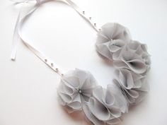 Chiffon Ruffle Fabric Flower Necklace