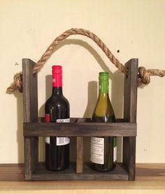 Rustic wood wine carrier wine tote wine bottle by SheltonWoodworks