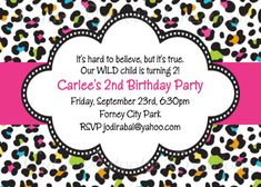 Pink Leopard Print Birthday Invitation by CutiesTieDyeBoutique, $15.00