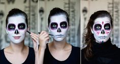 """This look is the ultimate hit at this years Halloween parties! With the Sugar Skull Makeup the focus is on your face you don't really have to invest a full costume. This look requires some fake roses in your hair, and some colorful clothing (scarf etc.) if you want to follow the traditional """"dress code"""". …"""