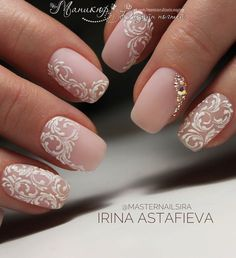 Bridal Nail Art Designs for Women in 2019 Page 15 of 20 Fashion wedding nails Bridal Nails Designs, Bridal Nail Art, Fall Nail Art Designs, Wedding Nails Design, White Nail Designs, Elegant Bridal Nails, Lace Nail Design, Elegant Nail Art, Vintage Wedding Nails