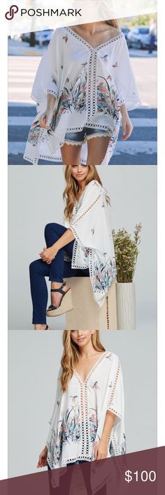"""Oversized Kimono embroidery lace trim poncho top COMING SOON!! -Kimono style poncho top • All over floral print • All over embroidery lace trimming • Tacked closed sides -100% Rayon  • Model is 5` 8"""" 32B-24-35 and wearing a size Small COLORIvory ✅ Like to be notified of arrival✅ price will be reduced to $45 once item arrives. Tops"""