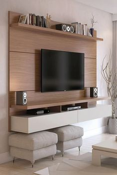 Floating Entertainment Center, Bedroom Entertainment Center, Living Room Entertainment Center, Entertainment Center Makeover, Entertainment Stand, Entertainment Products, Ruang Tv, Living Room Tv Unit Designs, Tv On Wall Ideas Living Room