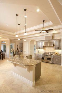 Kitchen decor, Kitchen designs, Kitchen decorating ideas - Gray kitchen cabinets and high tray ceiling.