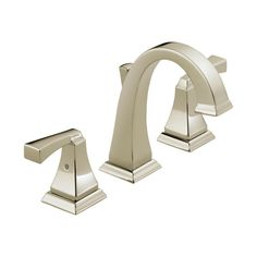 Transform the look of your bathroom with this stunning lavatory set from the Dryden line by Delta Faucets. The sleek form paired with the polished nickel finish makes this two-handle widespread lavatory faucet practical as well as stylish.