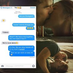 Convo between Tobias and Tris. this is absolutly adorable!who wants to cry with me in a corner? Divergent Fan Art, Divergent Trilogy, Allegiant, Insurgent, Tris Et Tobias, Tris And Four, Truth And Lies, Veronica Roth, Shailene Woodley