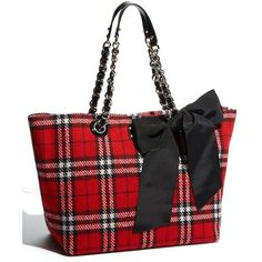 kate spade new york 'fireside plaid small coal' shoulder bag ❤ liked on Polyvore featuring bags, handbags, shoulder bags, plaid, tartan handbag, oversized handbags, bow handbag, chain purse and shoulder handbags